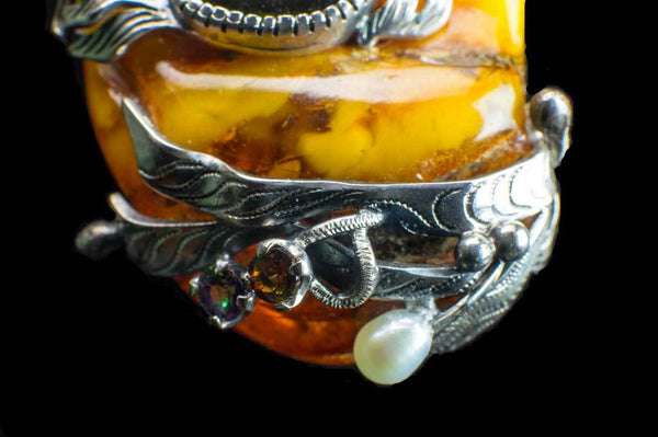 Alena Zena Baltic Butterscotch Amber with Australian Blue Opal & Green Tourmaline Pendant for $899 at Mystical Earth Gallery (Close Up View of Bottom on Green Tourmaline Side)