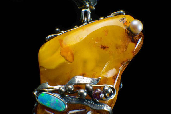 Alena Zena Baltic Butterscotch Amber with Australian Blue Opal & Green Tourmaline Pendant for $899 at Mystical Earth Gallery (Close Up View of Silverwork Opal Side)