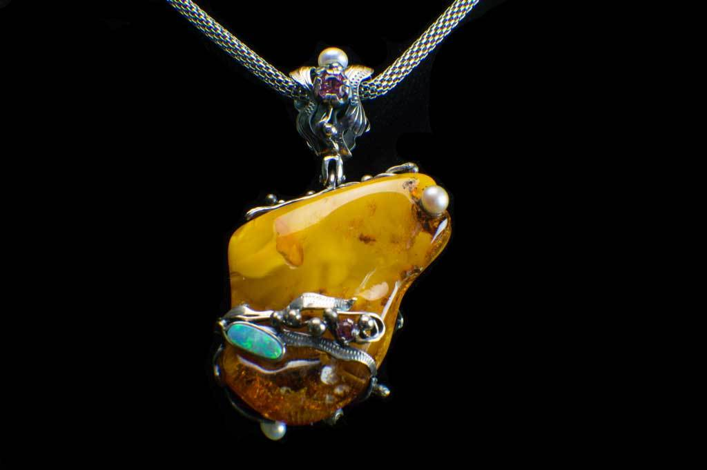 Alena Zena Baltic Butterscotch Amber with Australian Blue Opal & Green Tourmaline Pendant for $899 at Mystical Earth Gallery (Full Front View of Opal Side)