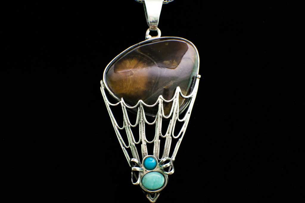 Simbercite and Turquoise Spider and Spiderweb Pendant (Full View) for $279 at Mystical Earth Gallery