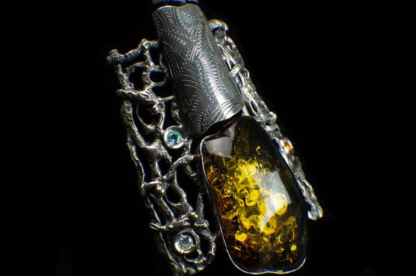 Alena Zena Baltic Green Amber with Faceted Aquamarine, Amethyst, Citrine & Cubic Zirconia Shield Pendant for $425 at Mystical Earth Gallery (Close Up Side View)