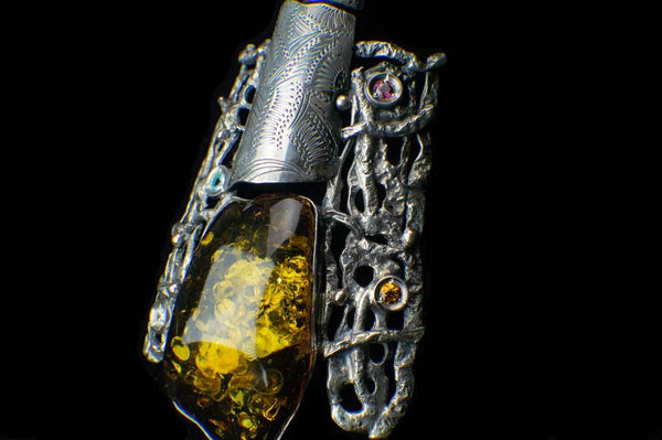 Alena Zena Baltic Green Amber with Faceted Aquamarine, Amethyst, Citrine & Cubic Zirconia Shield Pendant for $425 at Mystical Earth Gallery (Close Up Side View #2 View)