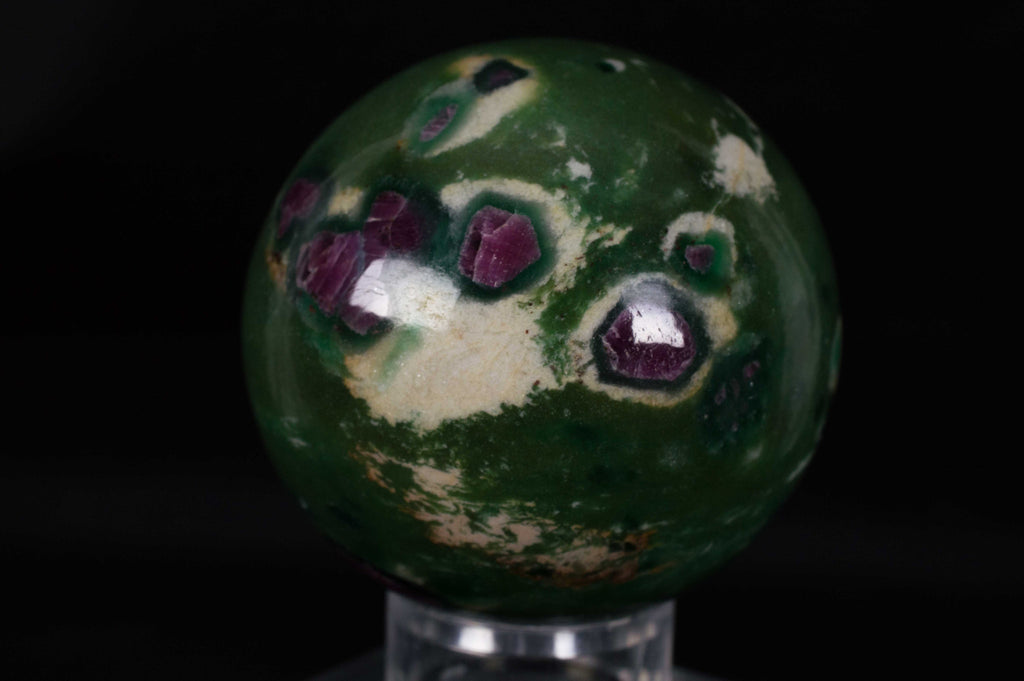 Dark green & fuchsia Ruby in Fuchsite Sphere from India, $59.95 @ Mystical Earth Gallery