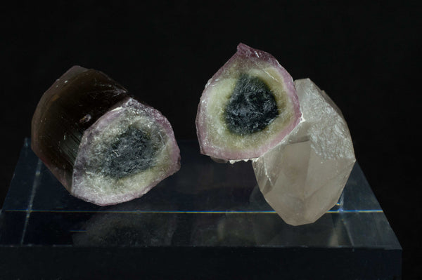 Reverse Watermelon Tourmaline with Quartz from Himalaya Mine, California; $1,150 @ Mystical Earth Gallery