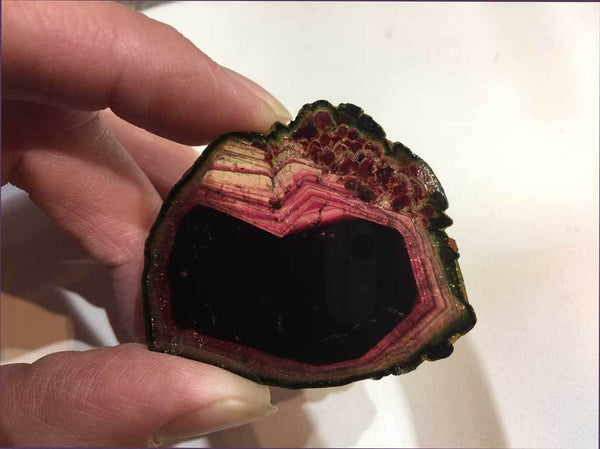 Liddicoatite Tourmaline with Red, Green & Pink Coloring for $799 at Mystical Earth Gallery (Full View Side 1 in regular light)