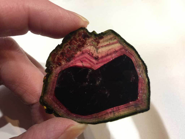 Liddicoatite Tourmaline with Red, Green & Pink Coloring for $799 at Mystical Earth Gallery (Full View Side 2 in regular light)
