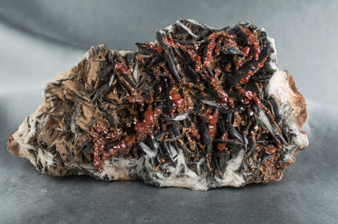Vanadinite on Black Barite from Morocco; $189.95 @ Mystical Earth Gallery