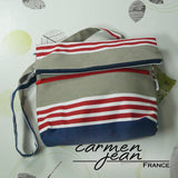 Amber Fold Over Bag - Admiral Stripes - Handmade by Carmen Jean