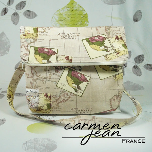 Amber Fold Over Bag - Atlantic Map - Handmade by Carmen Jean