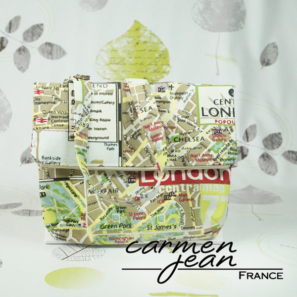 Amber Fold Over Bag - London Map - Handmade by Carmen Jean