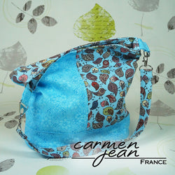 Bonnie Bucket Bag - Blue Birds - Handmade by Carmen Jean