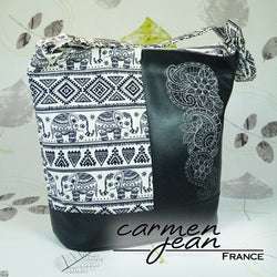Bonnie Bucket Bag - Indian Elephants - Handmade by Carmen Jean