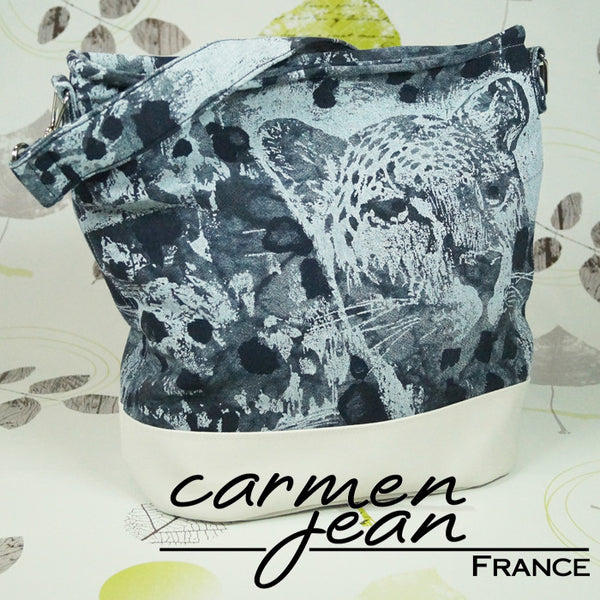 Bonnie Bucket Bag - Denim Leopard - Handmade by Carmen Jean