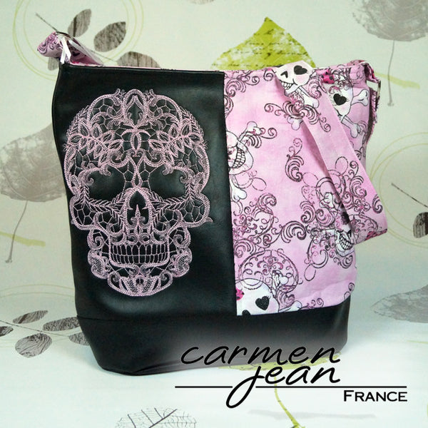 Bonnie Bucket Bag - Pink Skulls - Handmade by Carmen Jean