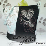 Bonnie Bucket Bag - Teal Birds - Handmade by Carmen Jean
