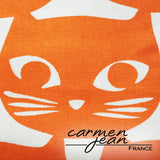 Tote Bag - Orange Cat Face - Handmade by Carmen Jean