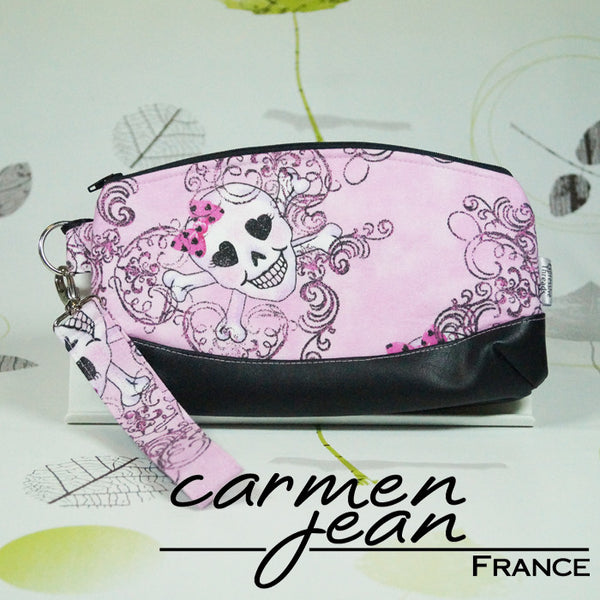 Clutch Bag - Pink Skulls - Handmade by Carmen Jean