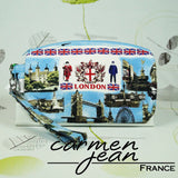 Clutch Bag - Blue London - Handmade by Carmen Jean