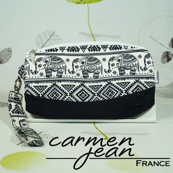 Clutch Bag - Indian Elephants - Handmade by Carmen Jean