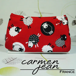 Clutch Bag - Red Knitting Sheep - Handmade by Carmen Jean