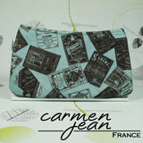 Clutch Bag - Green Lables - Handmade by Carmen Jean