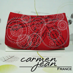 Clutch Bag - Red Embroidered Cogs - Handmade by Carmen Jean