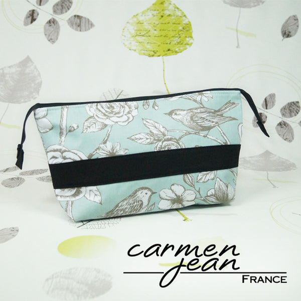 Emmaline Bag - Teal Birds - Handmade by Carmen Jean