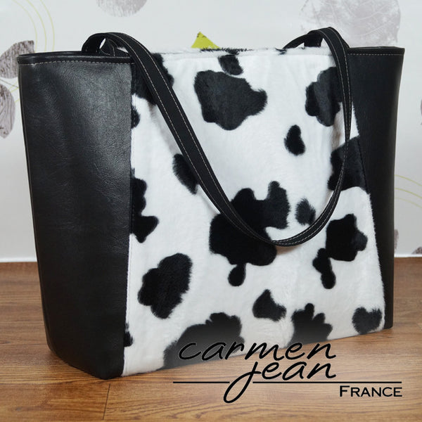 Everyday Tote Bag - Faux Fur Cow Print - Handmade by Carmen Jean