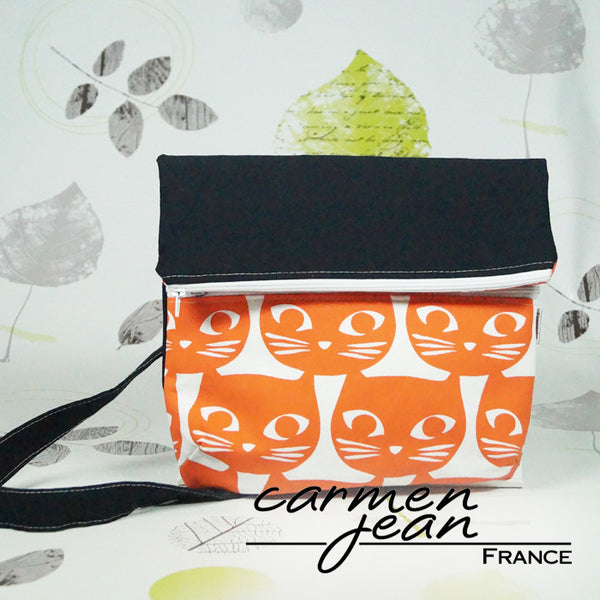 Amber Fold Over Bag - Orange Cat Face - Handmade by Carmen Jean