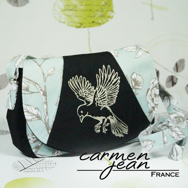 Rosie Bag - Teal Birds - Handmade by Carmen Jean