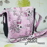Sandra Saddle Bag - Pink Skulls - Handmade by Carmen Jean