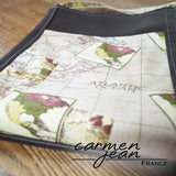 Zip Up Hipster Bag - Atlantic Map - Handmade by Carmen Jean