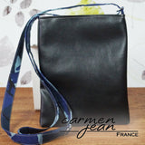 Zip Up Hipster Bag - Blue Camouflage - Handmade by Carmen Jean