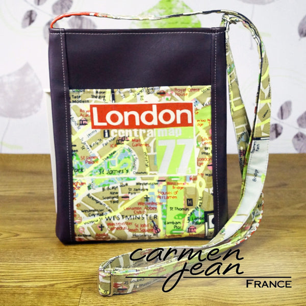 Zip Up Hipster Bag - London Map - Handmade by Carmen Jean