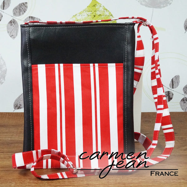 Zip Up Hipster Bag - Red Stripe - Handmade by Carmen Jean
