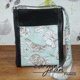 Zip Up Hipster Bag - Teal Birds - Handmade by Carmen Jean