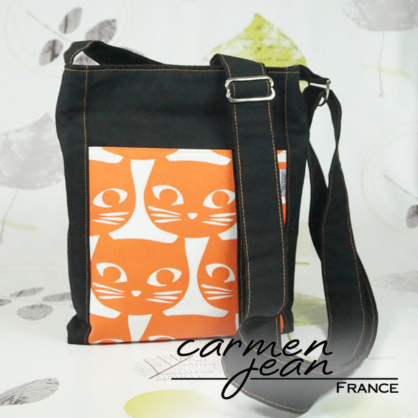 Zip Up Hipster Bag - Orange Cat Face - Handmade by Carmen Jean