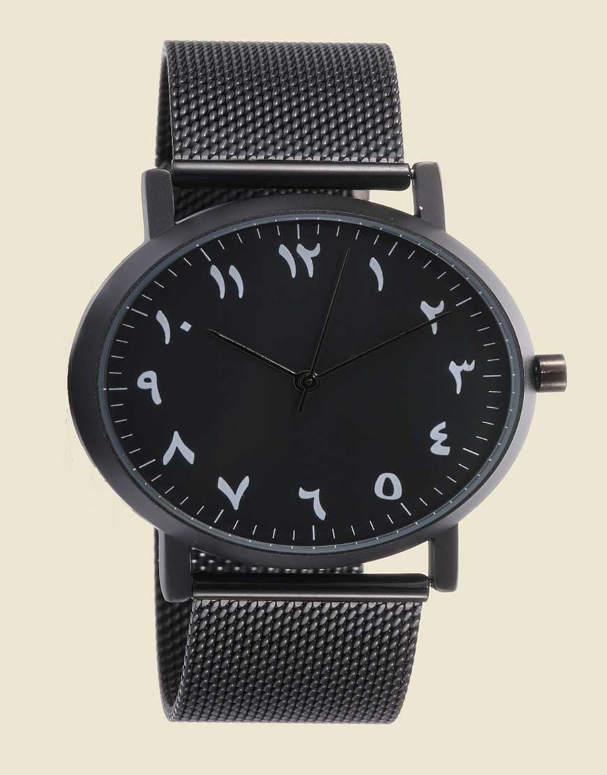 Minimalist Black Mesh, Black Case, Arabic Numbers Watch