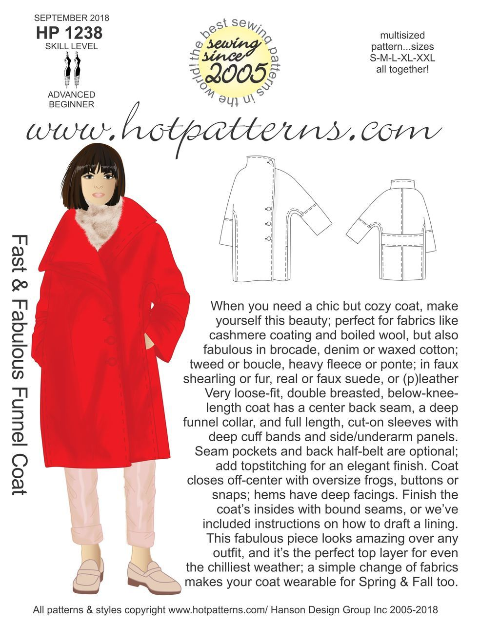 New from Hot Patterns - the Funnel Coat is here!!