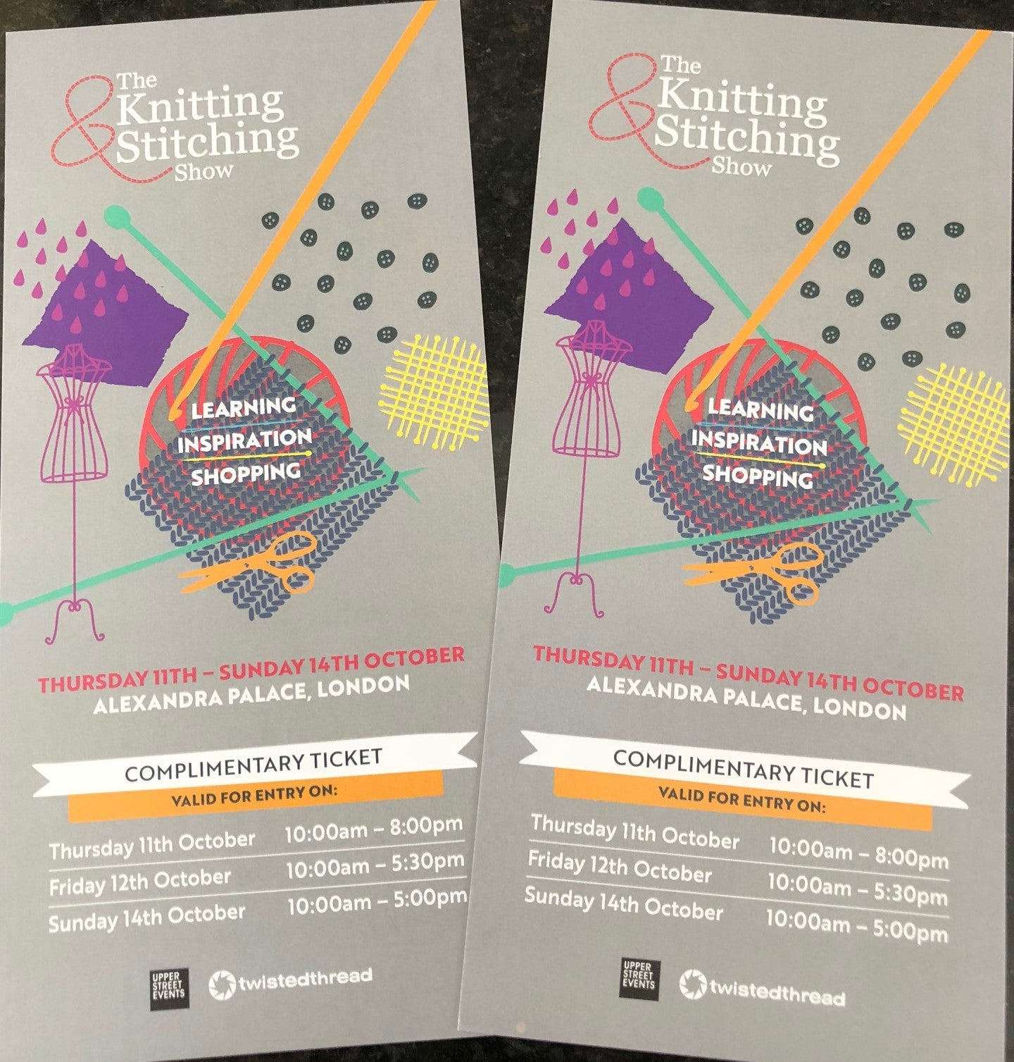 2 Tickets for Knitting & Stitching, Ally Pally - GIVE-AWAY