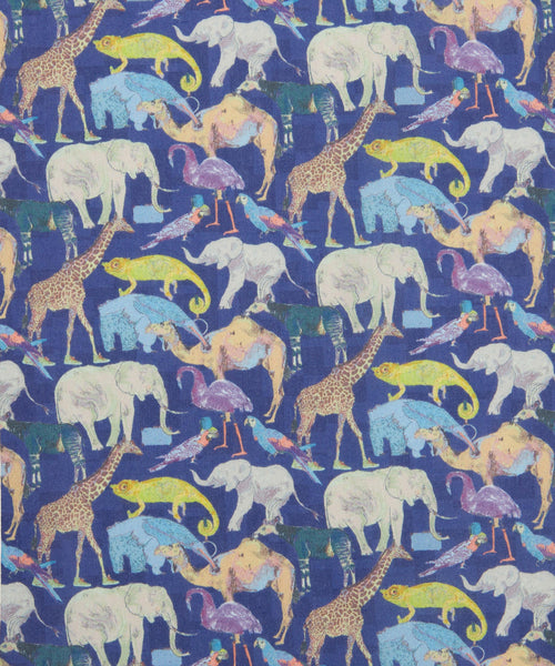 Liberty Tana Lawn - LTL03634160H - Queue for the Zoo - (dark blue)