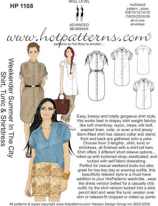 Hot Patterns 1108 - Weekender Summer in the City Shirt, Tunic & Shirtdress