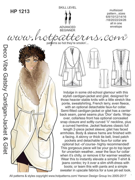 Hot Patterns 1213 - Deco Vibe Gatsby Cardigan, Jacket & Gilet