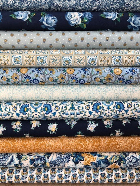 Liberty Emporium Collection - Blues/Mustard - 11 x Fat Quarter Pack