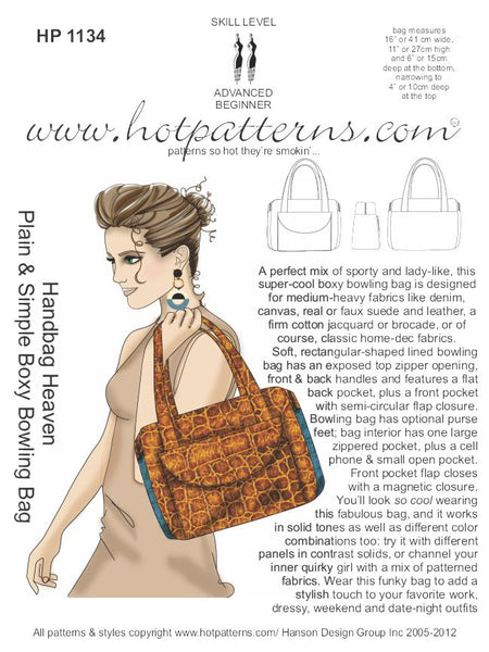 Hot Patterns 1134 - Handbag Heaven Plain & Simple Boxy Bowling Bag