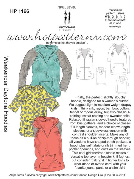Hot Patterns 1168 - Weekender Daytona Hoodies