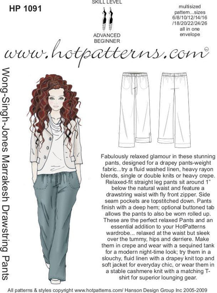 Hot Patterns 1091 - Wong-Singh-Jones Marrakesh Drawstring Pants