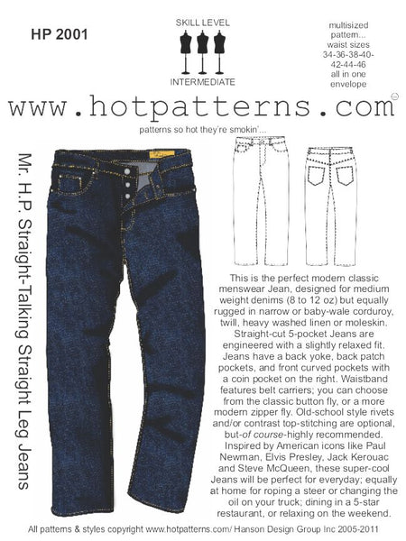 Hot Patterns 2001 - Mr H.P. Straight-Talking Straight Leg Jeans