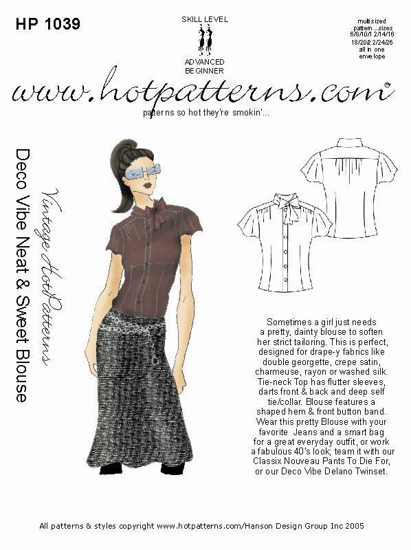 Hot Patterns 1039 - Vintage Deco Vibe Neat & Sweet Blouse