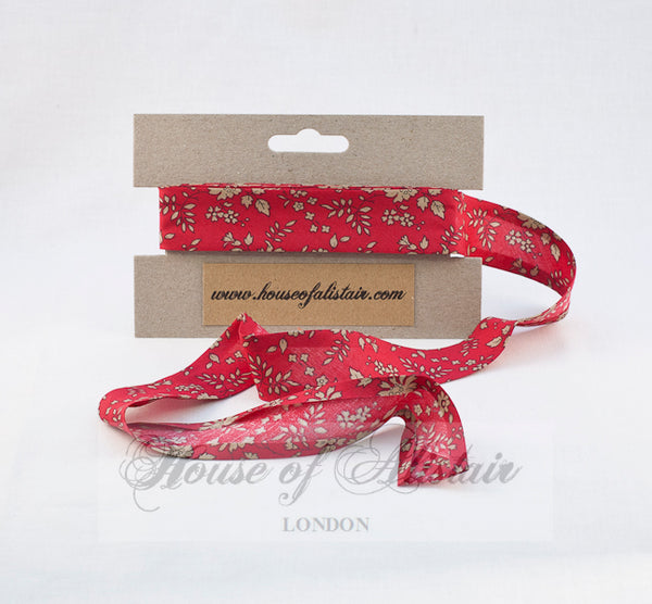 Liberty print Bias Binding - 25mm - by metre - Capel Red